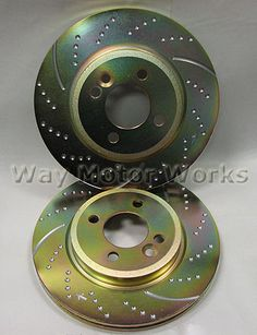 Front Drilled And Slotted Brake Rotors For 2002-2006 Mini Cooper 1.6L L4 2WD