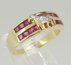 Diamond and Ruby Wedding Band Anniversary Ring Horse Design 18K Yellow Gold Size 6.75