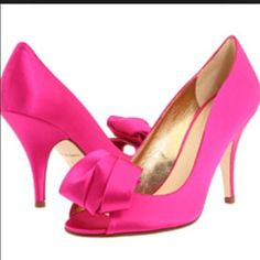 🎉5x HP 🎉Kate Spade Clarice Hot Pink Satin heels Amazing fuschia Kate Spade heels worn once to a wedding. The outside of the shoes are in excellent (not perfect tho!) condition. There are a few very minor blemishes but they are hardly noticeable unless you are sitting on the floor inspecting them closely. To everyone else, I believe, they look brand new. Originally $297.95. kate spade Shoes Heels