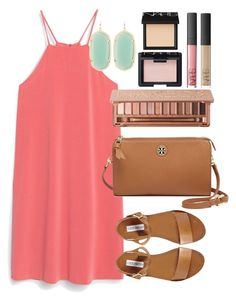 Shift Dress by lauren-hailey on Polyvore featuring MANGO, Steve Madden, Tory Burch, Kendra Scott, Urban Decay and NARS Cosmetics