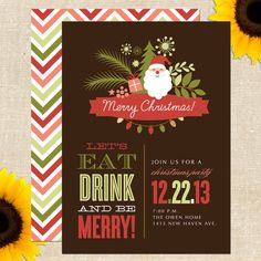 Santa Holiday / Christmas Party Invitation DIY Printable