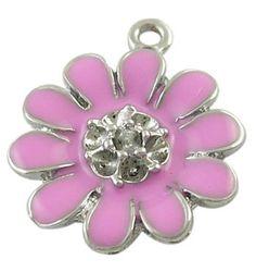 4 Purple Lavender Silver and Enamel FLOWER Charm Pendants by SmartParts, $4.99