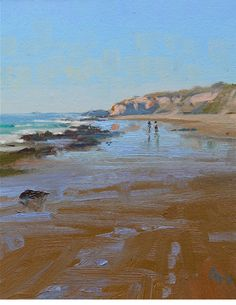 Jeff Sewell -- A painting with quick, simple brushwork to capture this sea and beach scene. Contemporary Landscape, Abstract Landscape, Seascape Paintings, Landscape Paintings, Guache, Water Art, Coastal Art, Beach Scenes, Beach Art