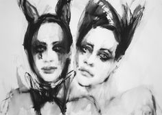"""Saatchi Online Artist: Fiona Maclean; Acrylic 2013 Painting """"Dynamic Duo - Sofia & Starr - from the Meet me in Wonderland series.""""  #onetowatch"""