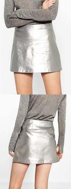 a761999285 Silver High Waist Metallic Pencil Mini Skirt Latest Fashion For Women,  Womens Fashion, Pencil