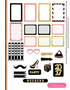 Free Printable New Year 2017 Stickers page 2 for Happy Planner and ECLP in Pink Color