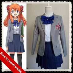 >> Click to Buy << GANGAN ONLINE anime clothes Sakura Chiyo cosplay costume plus size japanese girl school uniform skirt Send socks and Headwear #Affiliate