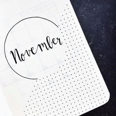 Bullet journal monthly cover page, November cover page, dotted drawings, monochromatic bullet journal page. @agirlthatjournals