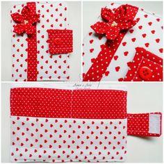 Carteira em tecido - Vermelha Flor - Poá e Corações em vermelho