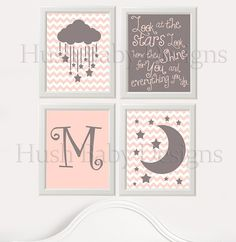 Nursery Wall Art Four Piece - Moon Stars Quote Lyrics Coldplay - Pink Gray - Or you pick!