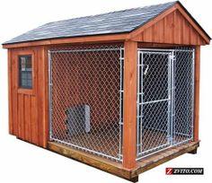 Above ground dog kennel dogs pinterest dog kennels for Dog kennel shed combo plans