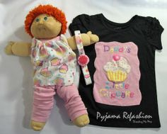 Refashion a pair of pyjamas into a t-shirt, headband and clothes for a doll ~ Threading My Way
