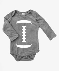 Look at this #zulilyfind! Heather Gray Football Graphic Long-Sleeve Bodysuit - Infant by Urban Smalls #zulilyfinds