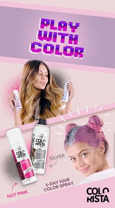 Try out this bold gamer girl style with Colorista Spray. Use hot pink and silver to add vivid color to double buns. It washes out after 1 day so you can go bold when you want and without the commitment of a more permanent hair color. Wash Out Hair Color, Hair Color Pink, Temporary Hair Color, Permanent Hair Color, Bold Games, Hot Pink Hair, Colorista, Color Spray, Cool Blonde