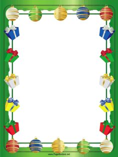 Colored tree ornaments and festive presents hang from the sides of this free, printable Christmas border. Free to download and print.