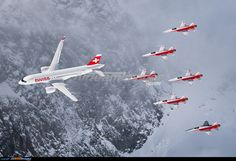 Unusual view: SWISS' second being the lead aircraft of the six Patrouille Suisse Tigers - Photo taken at St. Moritz [OFF AIRPORT] in Switzerland on February Luftwaffe, Swiss Air, Private Pilot, International Airlines, Commercial Aircraft, Brand Building, Aircraft Pictures, Air Show, Creative Kids
