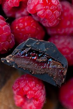 Raspberry Mocha Dark Chocolate Ganache - Instead of raspberry jam, these dark chocolates are packed with freshly cooked down raspberry reduction that adds so much intensity to their flavor.  Then, coupled that with a strong mocha dark chocolate ganache..... mmmm mm!  I have to believe that these have some health benefits to them... at least that's my story and I'm sticking to it.... wink, wink!