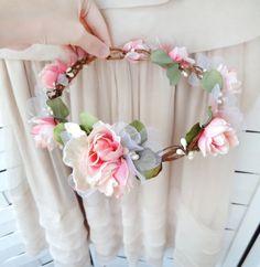 whimsical woodland pink flower wreath - EVER AFTER - bridal, flower girl, hair wreath, circlet