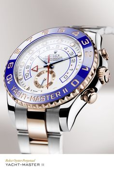 Rolex Yacht-Master II 44 mm in 904L steel and 18 ct Everose gold with a blue ceramic bezel, white dial and Oyster bracelet. #RolexOfficial