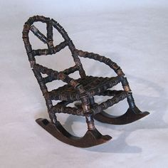 """<strong>19th century Miniature Rocking Chair made from silk reels</strong>  Height: 12"""" / 31 cm"""