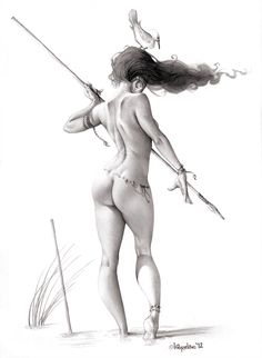 teach someone to fish... by *Loopydave on deviantART . . reminds me a lot of a Frank Cho drawing Frazetta style