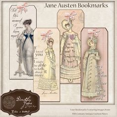 Jane Austen Quotes Bookmarks, Book Club Favor, Pride and Prejudice Pemberley…