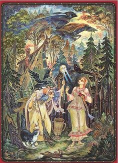 Baba Yaga Tales Old & New, Uniquely & Chillingly Told - An Interview with 'Horrible Little Fables' Podcaster Keef Baba Yaga, Russian Folk, Russian Art, Fantasy Kunst, Fantasy Art, Fairytale Art, Fantasy Paintings, Folk Art, Modern Art