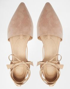 Image 3 of ASOS LIFT OFF Pointed Lace Up Ballet Flats