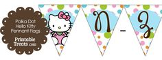 Polka Dot Hello Kitty Flag Letters N-Z