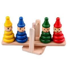 Wooden Clown Balancer - 300 pesos. Teaches the concept of balance. Also ideal for color recognition  Dimensions: 21 x 6 x 10 cm #cuteitems #watch #sunglasses #toys #noveltytoys