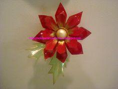 Desde Mi Jardin: Flores Navideñas,,para adornar casi todo,hechas con botellas plasticas