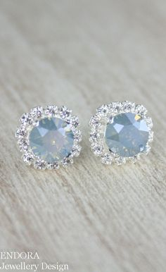 Dusty blue crystal earrings | dusty blue | powder blue wedding | http://www.endorajewellery.etsy.com