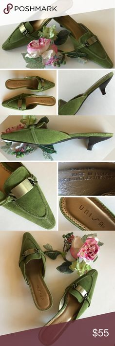 "🆕 Moss Green Kitten Heel Mules 🌿 NWOT Like new – don't appear to have been worn at all! Beautiful moss green suede mules with antique bronze color metal accent across front. Kitten heels. Size 7 1/2 B. Made in Brazil by Unisa.   Genuine leather (suede) uppers. NWOT as evidenced by condition of soles and suede. Smoke free home.   Approx 2"" heel at highest to bottom of heel footbed. Rubber type grippy bottoms. All day comfort! Shoes"
