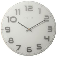 Nextime Classy Wall Clock - White and Silver - large glass clock