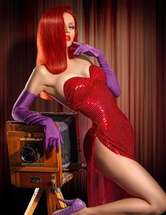 Jessica Rabbit... My only issue with this is the eye shadow should be blue but this is by far the best Jessica Rabbit cosplay i've seen
