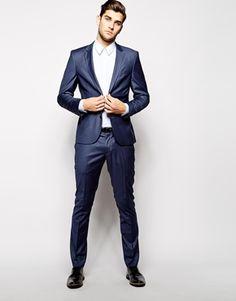 Selected Indigo Suit Jacket In Skinny Fit
