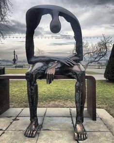 How many times have you felt like giving up? As survivors of #narcissistic #abuse, most days are exhaustingly draining. Between the #PTSD and #C-PTSD, it's a miracle we can make it from sunup to sundown and just keep it together. Today's article: Giving Up Losing A Child, Person Sitting, Joy And Happiness, Abstract Sculpture, Bronze Sculpture, Modern Sculpture, Funny Pictures, Artsy, Creative