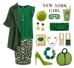 """Green apple"" by ellenfischerbeauty ❤ liked on Polyvore featuring Givenchy, Bulgari, Oscar de la Renta, Chanel, Tom Ford, Dolce&Gabbana, Piaget, René Caovilla, Magid and GREEN"
