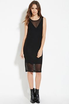 Forever 21 Contemporary - A partially lined sleeveless mesh knit dress in a knee length featuring an attached slip with adjustable cami straps and a round neckline.