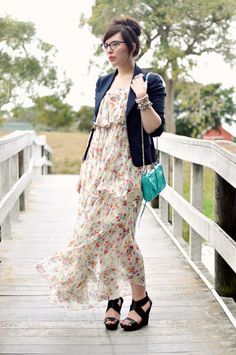 floral chiffon maxi dress, fitted blazer, turquoise purse