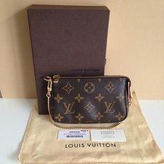 0ddbf293f8ae Louis Vuitton Monogram Canvas Mini Pochette Accessoires Wristlet Pouch. Get  the lowest price on Louis