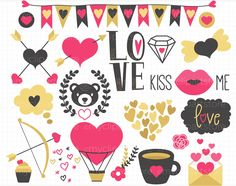 Valentine's Day, Hand Drawn Clipart by MyClipArtStore on @creativemarket