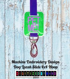 In the Hoop Dog Leash Slide - Marine Vinyl Dog Embroidery Design - ITH Machine Embroidery Design project for 4x4Hoops - Pet Me