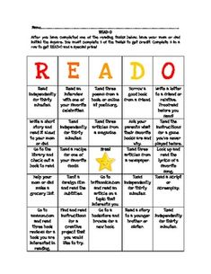READ-O Take-Home Literacy BINGO for Middle School Students
