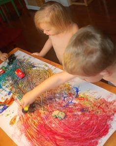 In Lieu of Preschool: Painting with Cars - Love this blog.