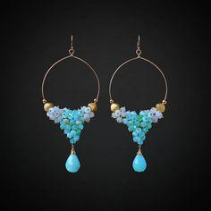 Peruvian Opal Earrings Chandelier Earrings Gemstone Earrings