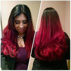 Hair by #YadiraReynoso #ClippingsHairDesign  #RedHair #RedOmbre #Ombre #Balayage #ClippingsHairDesign #RadiantRed #BrightColors #FunColors #Color #HealthyHair #Hair #hairstyles #Salon #LongHair #HairFlip