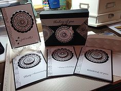 """I made these cards after viewing a video called """"10 Cards in 20 Minutes"""" on YouTube via """"Brandy's Cards"""" channel. She also has the video for the box that will hold 4 with envelopes. She also has a blog at www.brandyscards.com #brandyscards"""