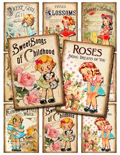 Digital Collage Sheet Printable Vintage Sheet by TheVintageRemix, $3.75 ATC, ACEO, Altered Art Ephemera for Scrapbooking, crafting, creating. Retro, Vintage Girls, Roses, Sheet Music.  Vintage cards.