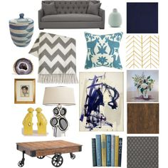 My inspiration board for the living room with a blue, yellow and gray palette. #30DaysofInspiration